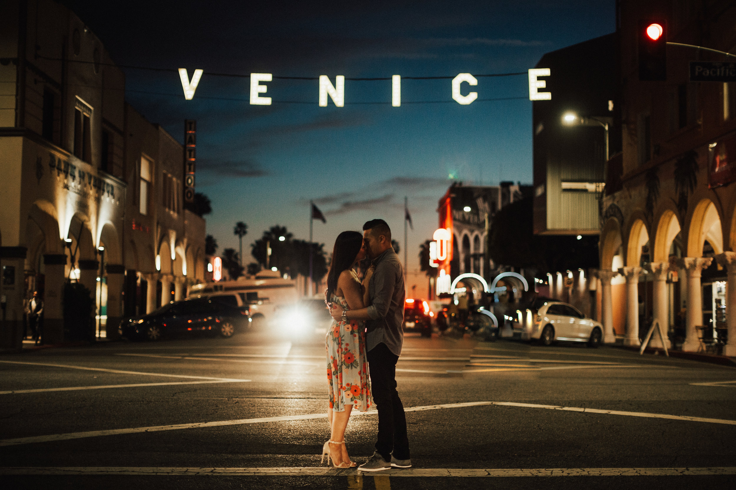 Famous Venice Beach Sign Engagement Photography