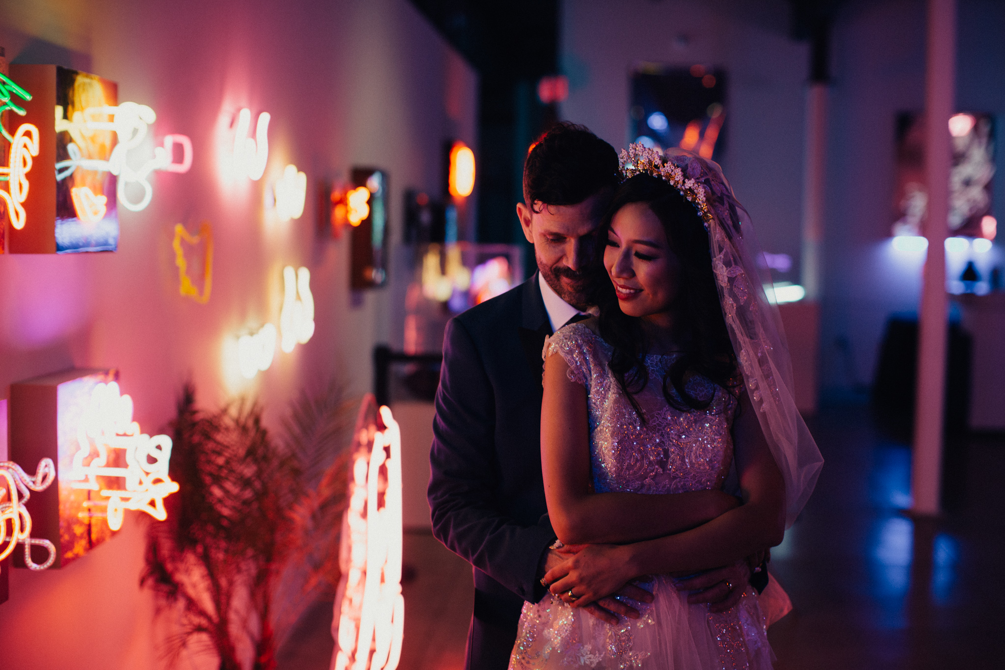 Mandy & Costanza's Museum of Neon Art Wedding