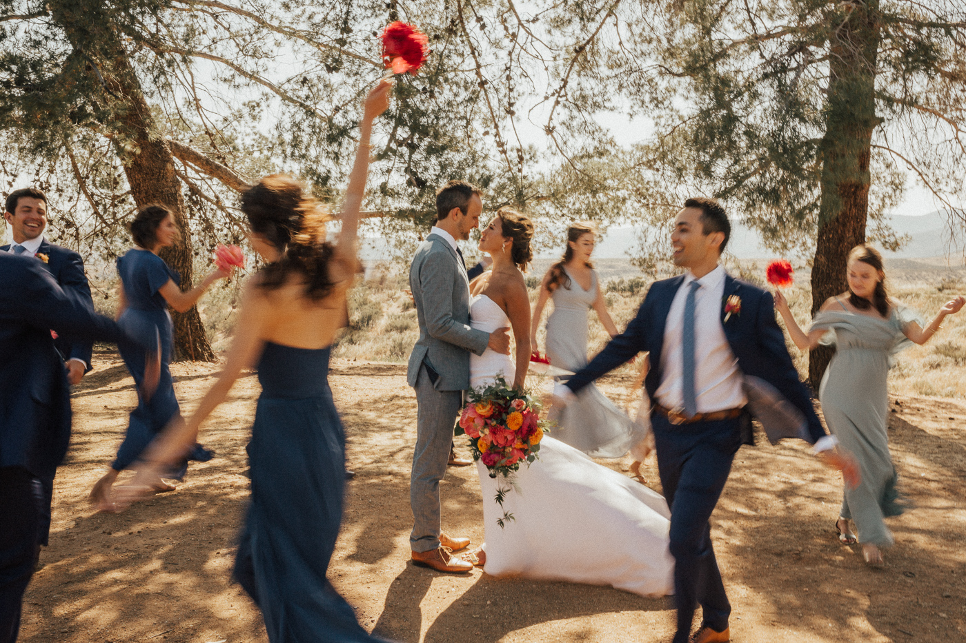 bridal party dancing shot