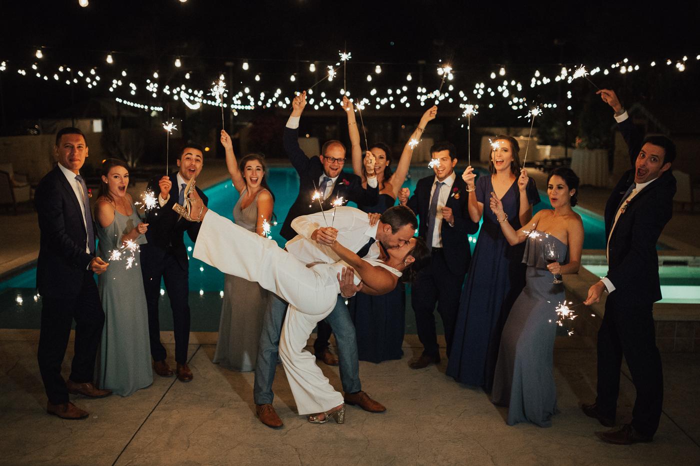 Wedding party sparkler photo