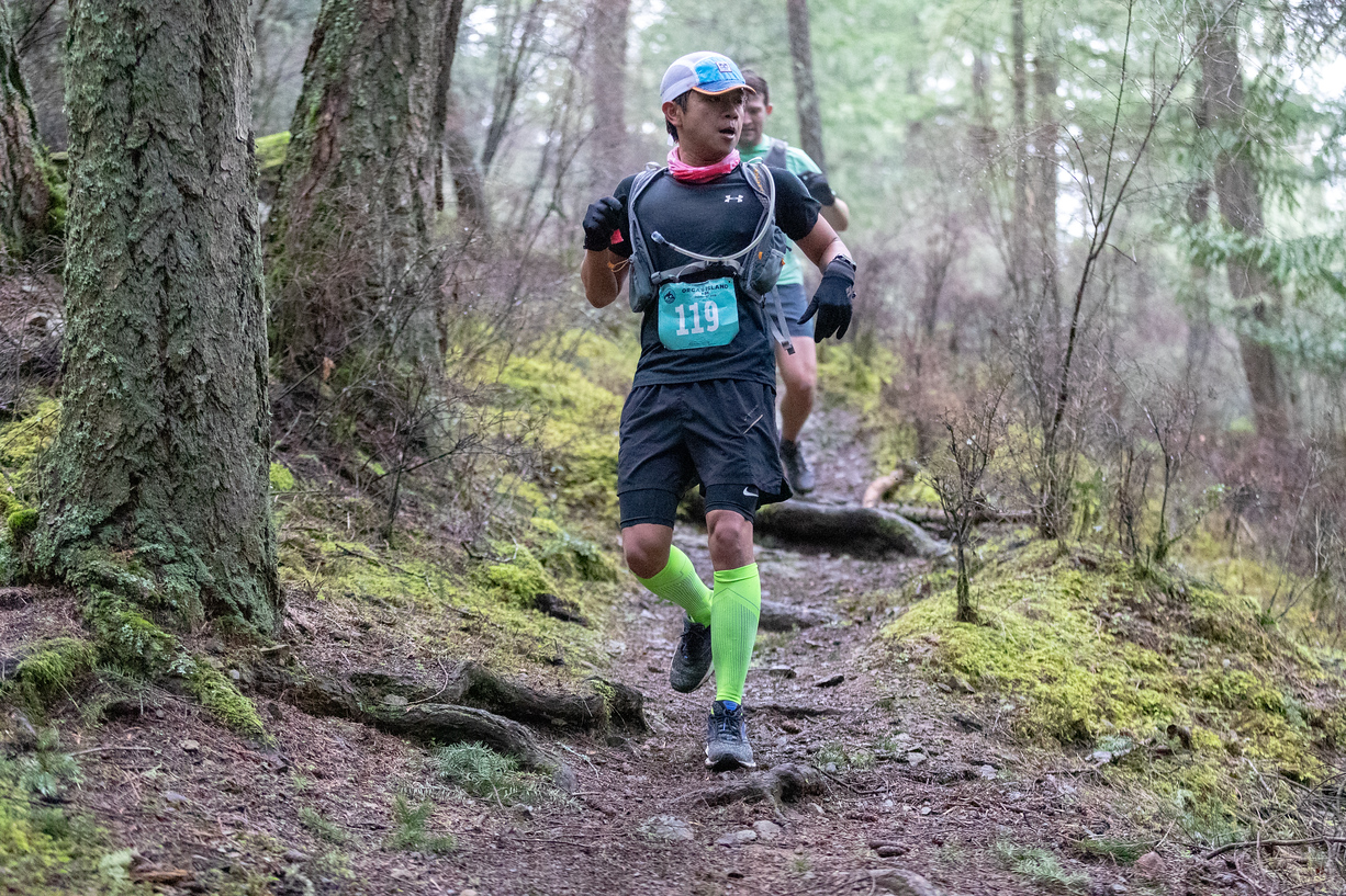The first major downhill of the Orcas island 50K.  Photo licensed from  Glenn Tachiyama Photography