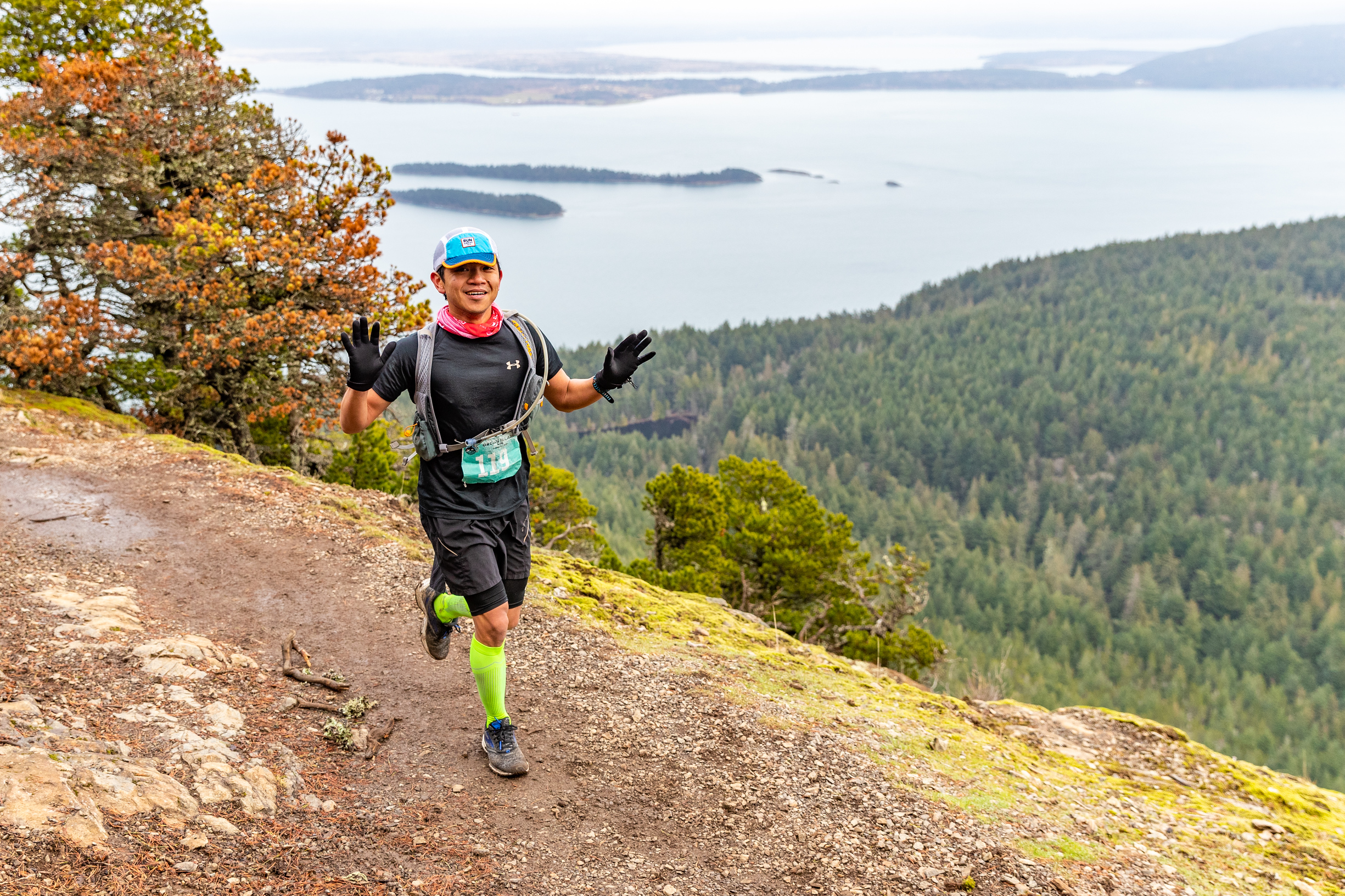 The views at the top of Mount Constitution during the Orcas Island 50K on Feb 2, 2019. Photo licensed from  Glenn Tachiyama Photography