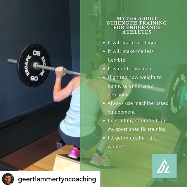 "TPosted @withrepost • @geertlammertyncoaching Can weight training help endurance athletes last longer?🤔 . Exercise physiologists call it the ""principle of specificity"": Swimmers gotta swim, cyclists gotta cycle, runners gotta run. That's why many endurance athletes believe that other forms of training, like lifting weights, simply waste time that could be devoted to doing more of their main sport🙈 . Of course, as with any good rule, the most interesting discussions involve figuring out when it should be broken. It turns out that the principle of specificity may apply less rigidly to older athletes than it does to their younger counterparts, according to a new study from researchers in France. The difference: The steady loss of muscle as you age means that you get an extra boost from weight training – even in endurance sports like cycling or triathlon ‼️ . A young group with an average age of 25.6, and an older group with an average age of 51.5 went through a three-week strength training program for their legs. After the three weeks were up, the researchers looked for changes in cycling efficiency, a measure of how much energy it takes to maintain a given pace on the bike. . Three weeks of strength training made little difference to the efficiency of the younger group, but it led to a massive 13.8-per-cent improvement in the efficiency of the older group, completely erasing the difference between the two . ""Force loss is one of the main problems of aging,"" and force loss will affect pedalling efficiency very quickly.""💪🏼 . People typically begin to lose 1 to 2 per cent of their muscle mass each year starting in their 30s or 40s unless they're already doing weights, so the older cyclists had much more room for improvement 🎯 . But the finding that strength training can also improve performance in endurance activities is a twist that may encourage cyclists and other endorphin junkies to add some weights to their exercise routine 🏋️‍♀️ . Many endurance athletes want nothing more than to keep doing what they've always loved! . But the reality of aging is that if you want things to stay the same you'll need to forget about the principle of specificity and try some"