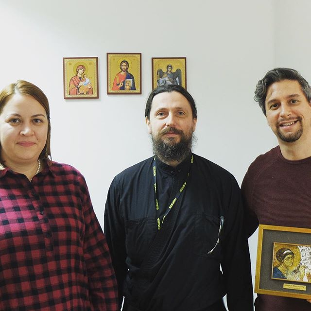 Today we had special guest in our office, father Nifont from monastery Visoki Dečani. It was time to celebrate launch of Dečani web shop where we helped in the shop development. You can check web shop at https://www.decani.org/rs/продавница
