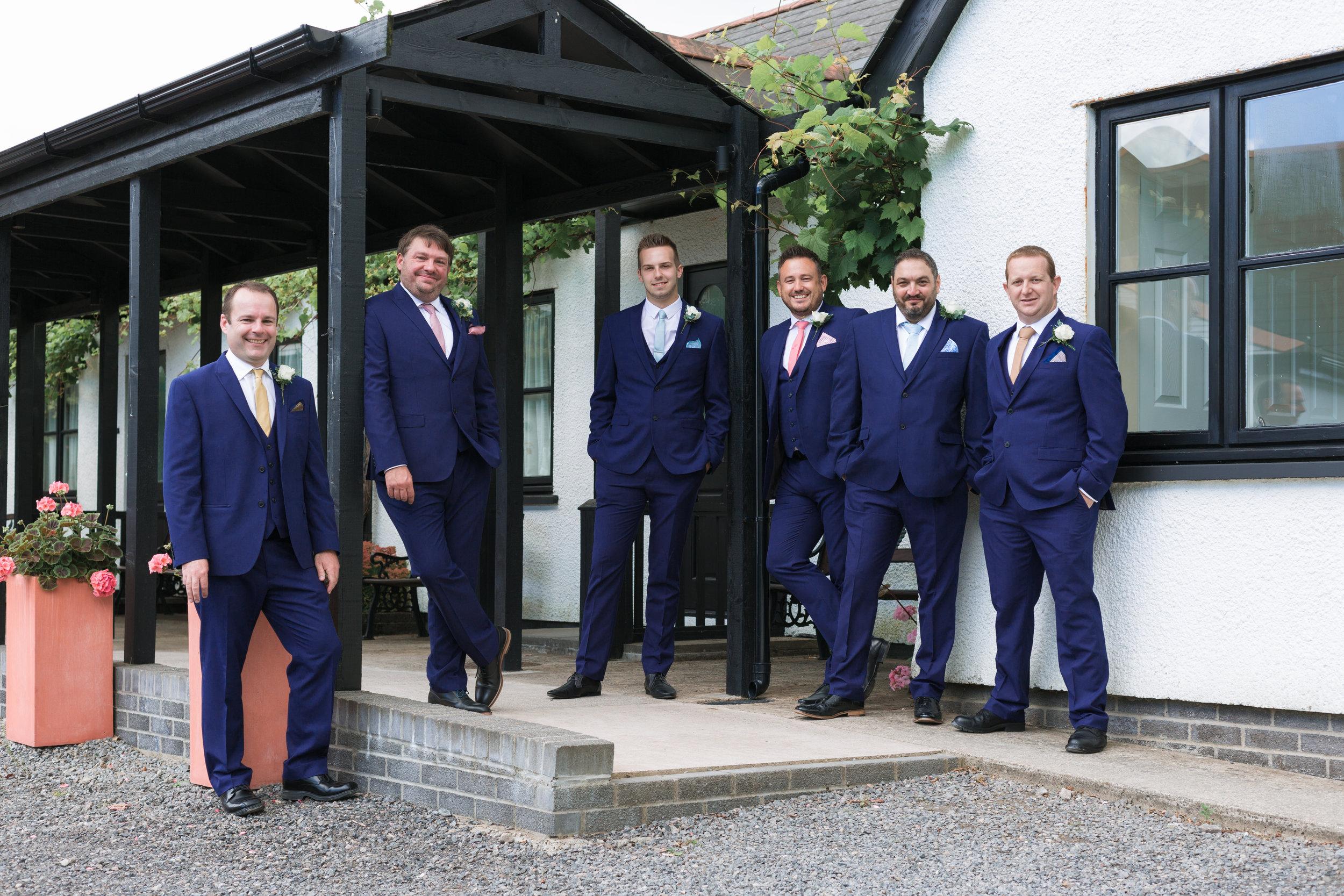 Groomsmen at Llanerch Vineyard. wedding photographer llanerch vineyard