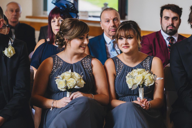 Bridesmaid at Canada Lake Lodge wedding photos