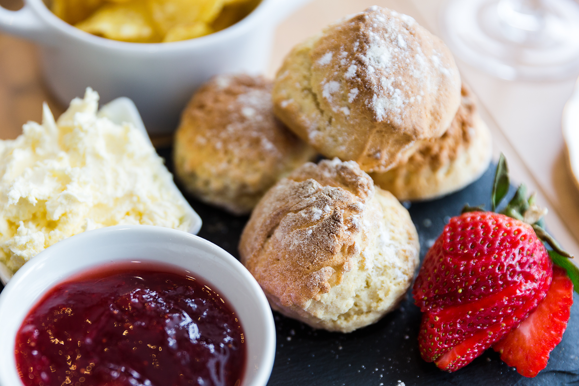 Scones at Miss B's cafe, Bedwas