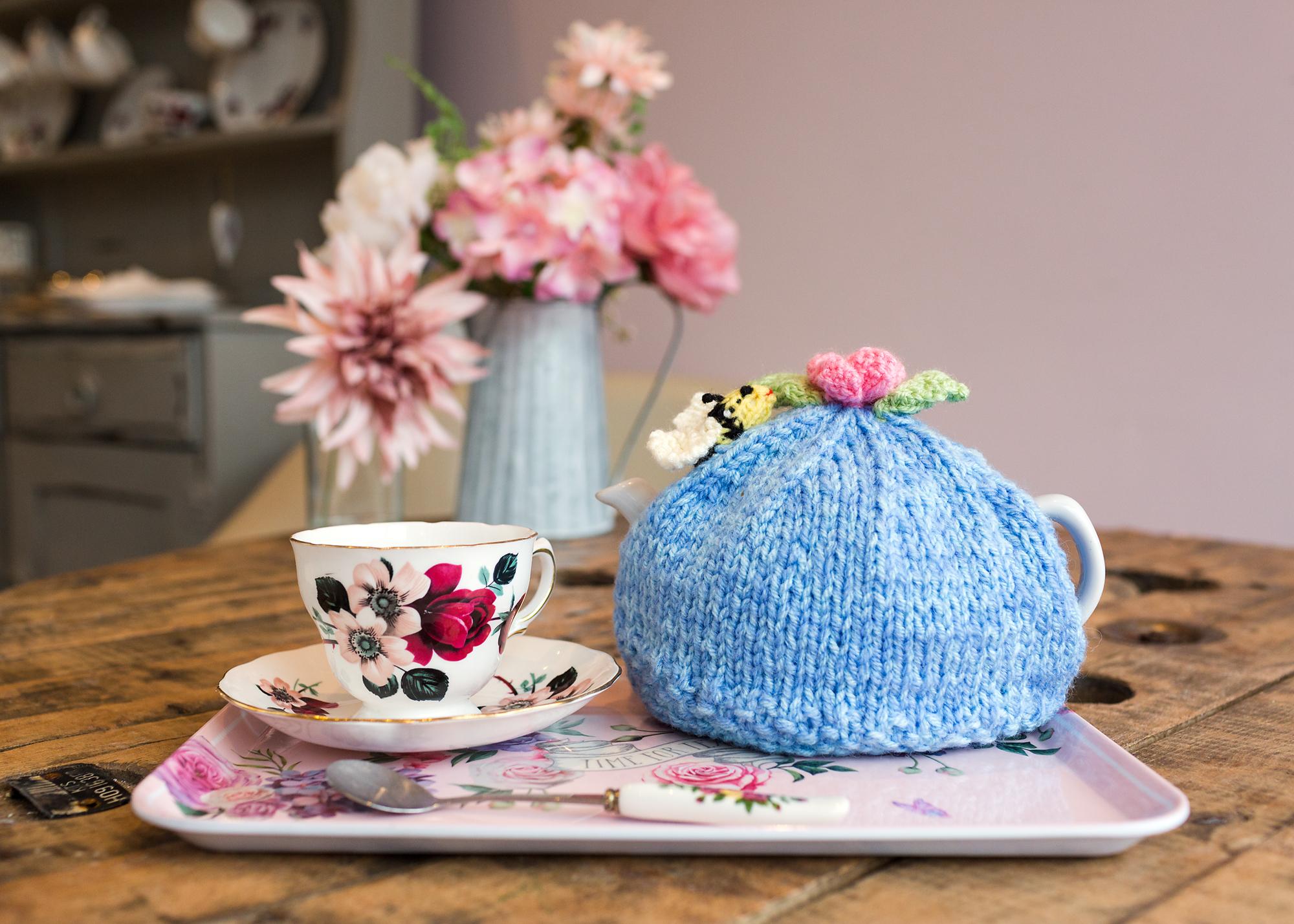 Pot of tea at miss B's cafe Bedwas, tea cosy