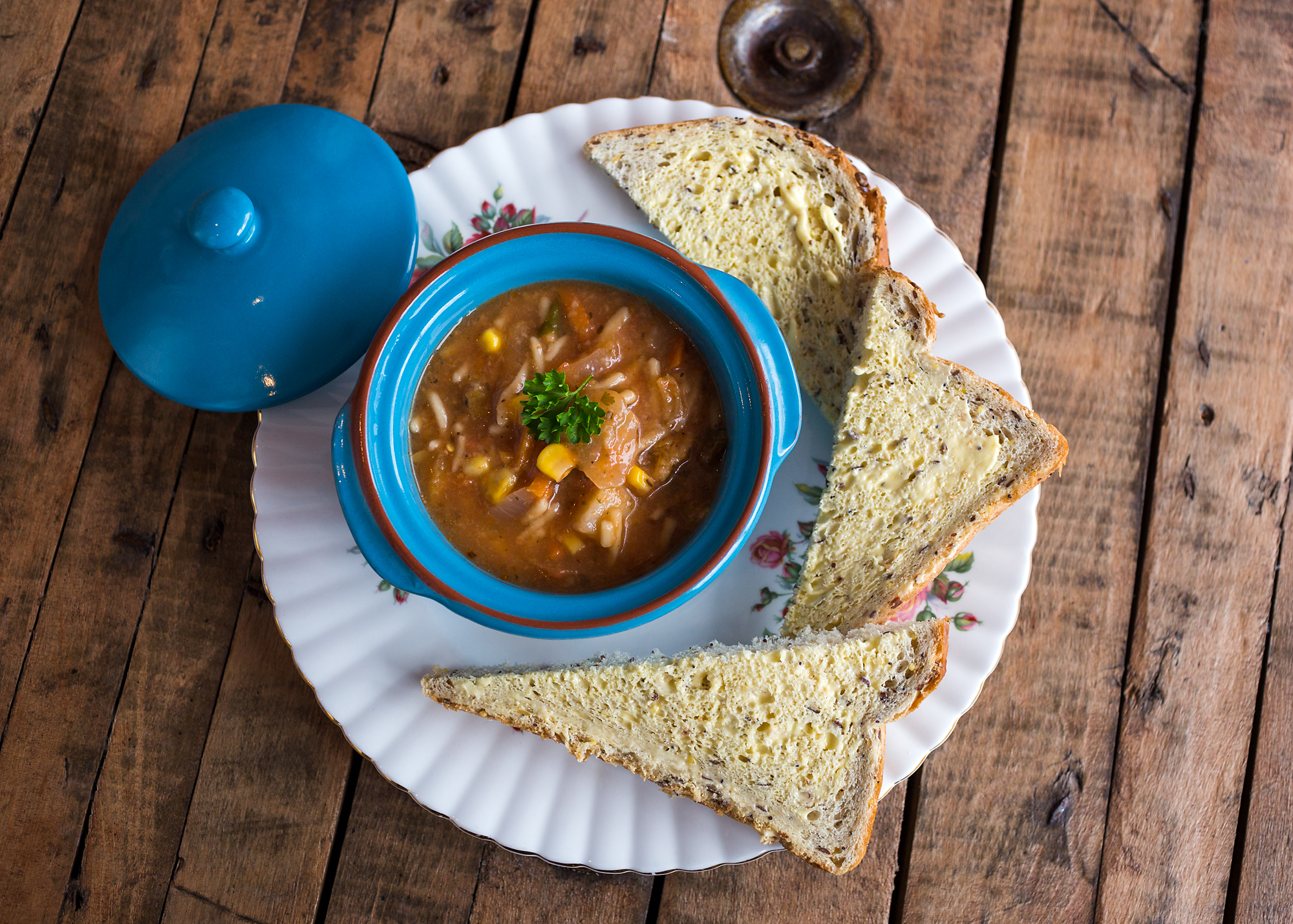 Minestrone soup at Miss B's coffee shop, bedwas