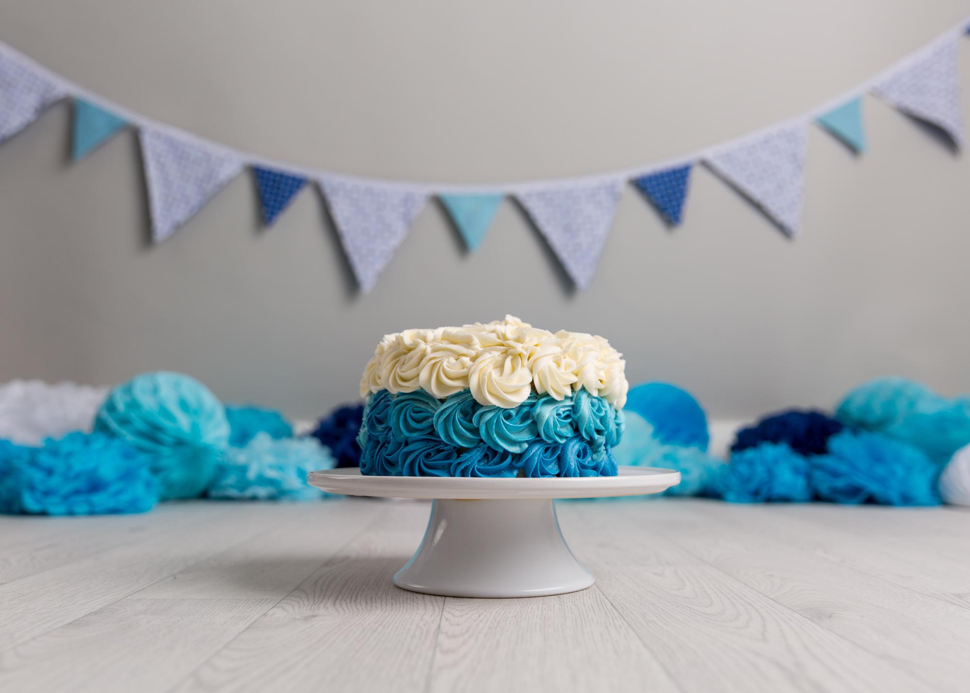 Blue  and grey Cake Smash Cardiff