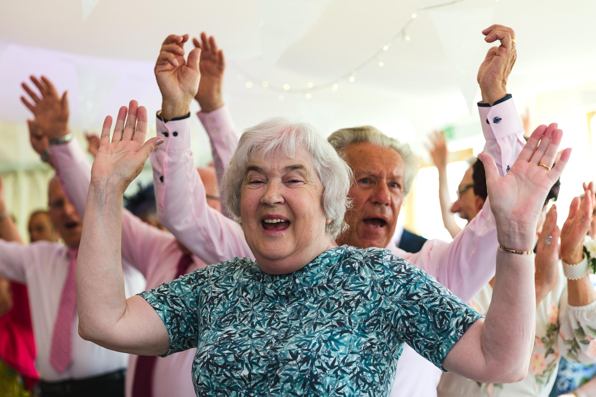 wedding guests dancing at Ridgeway golf club, Caerphilly Mountain