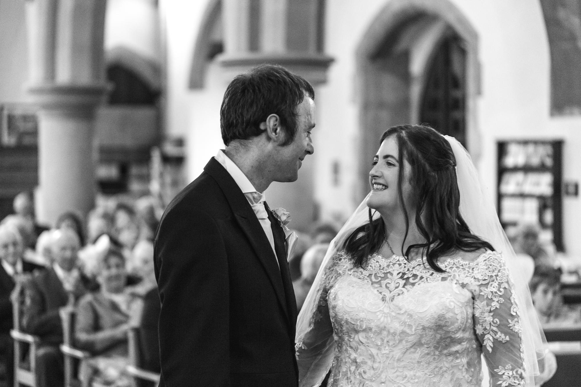 wedding ceremony at St Martins Church, Caerphilly