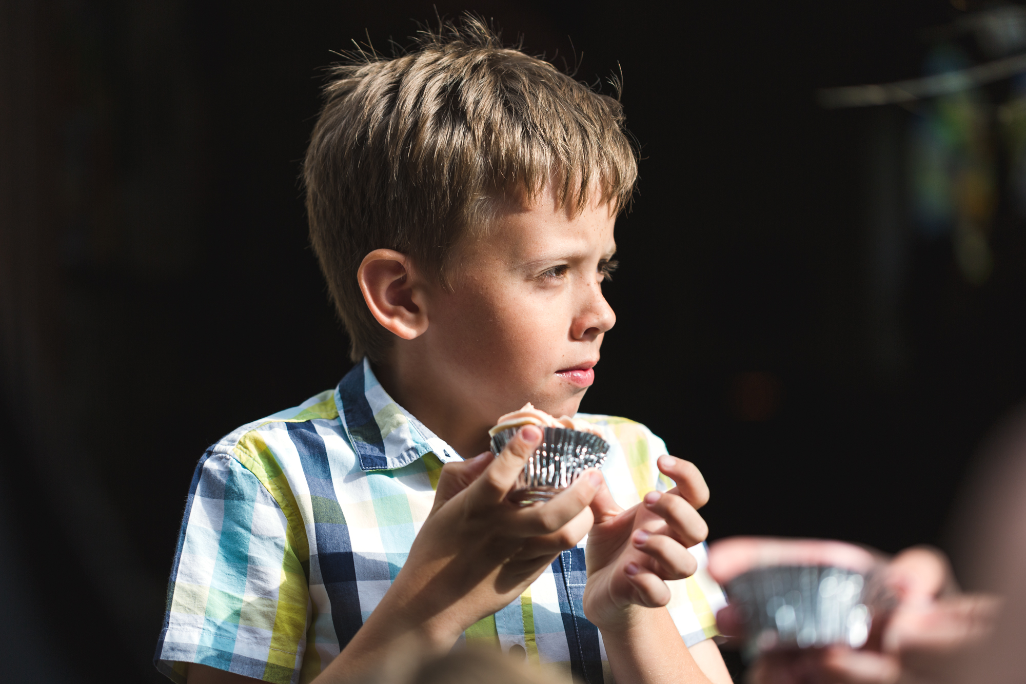 eating cake at a wedding at St Martins church Caerphilly