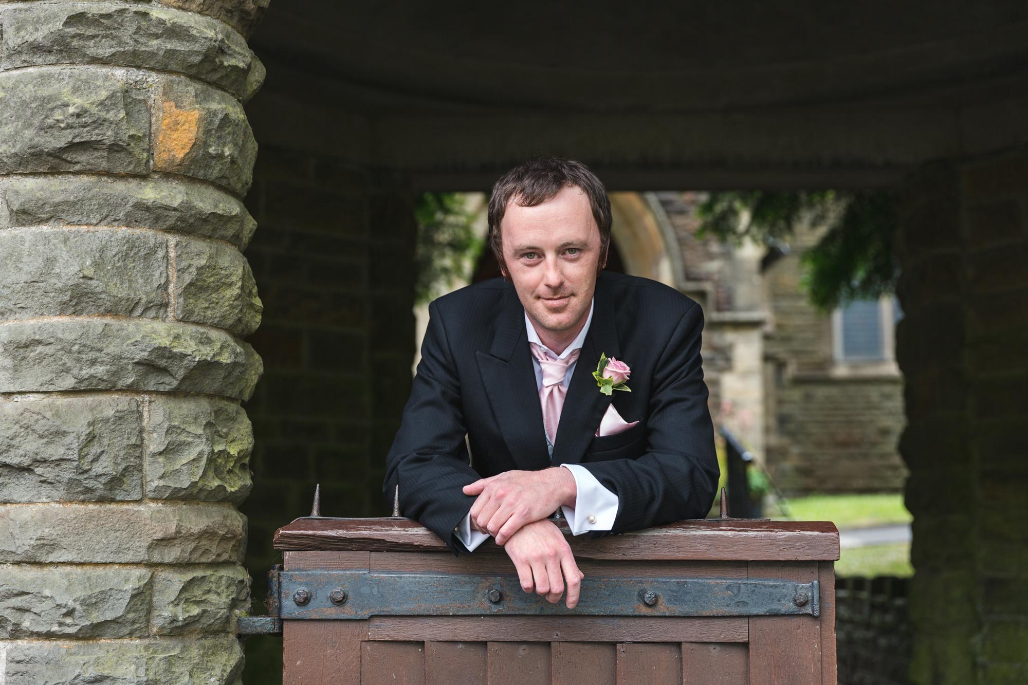 Groom at st martins church, Caerphilly