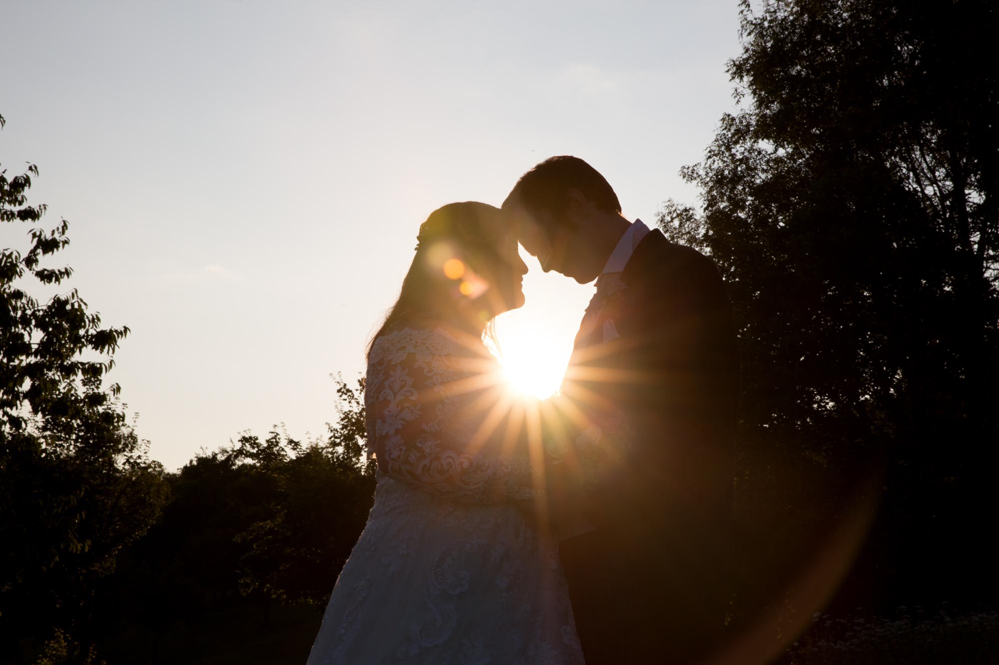 Sunset wedding couple portraits at Ridgeway Golf club, caerphilly mountain, thornhill