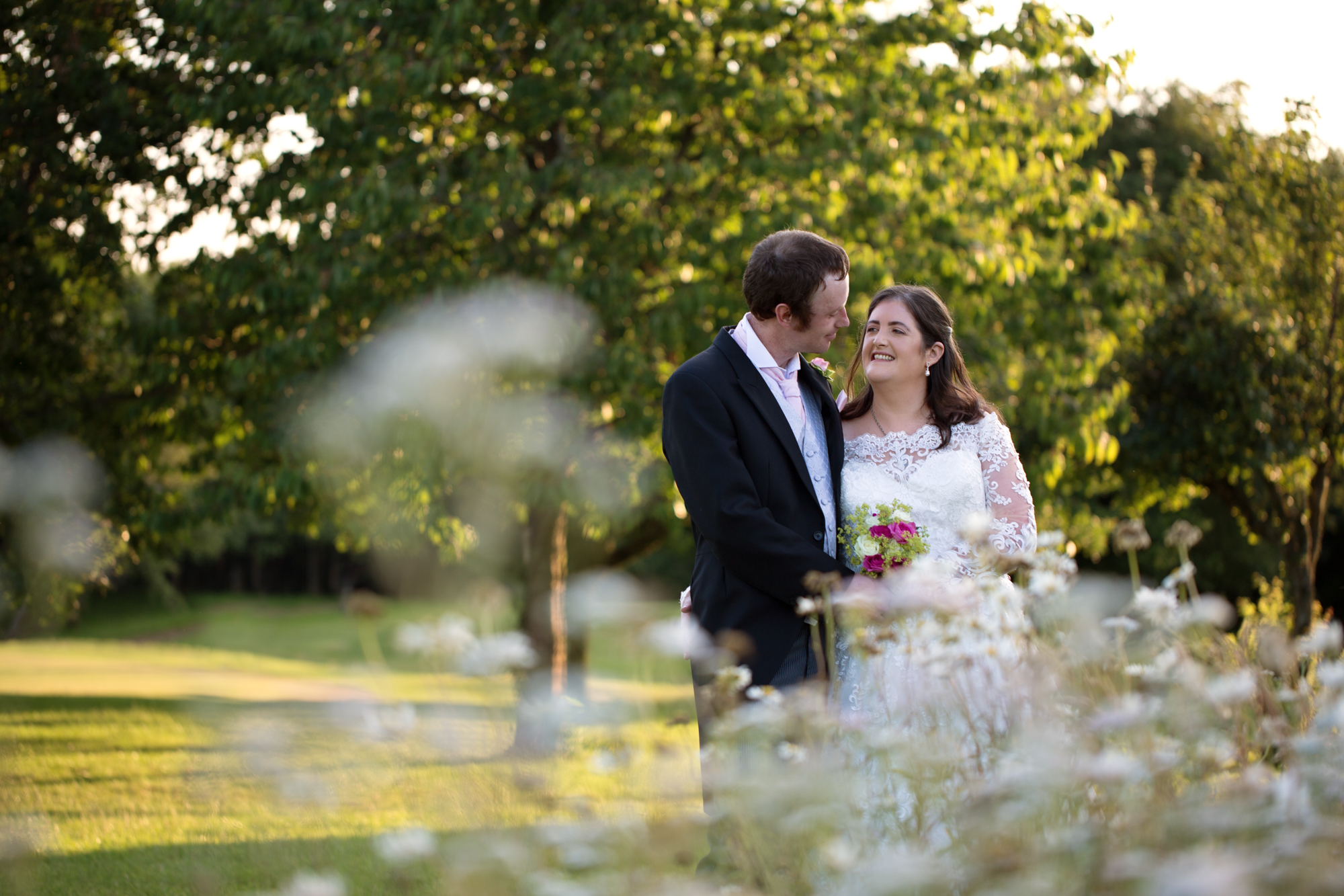 Bride and groom portraits at Ridgeway golf club, Caerphilly mountain, Thornhill