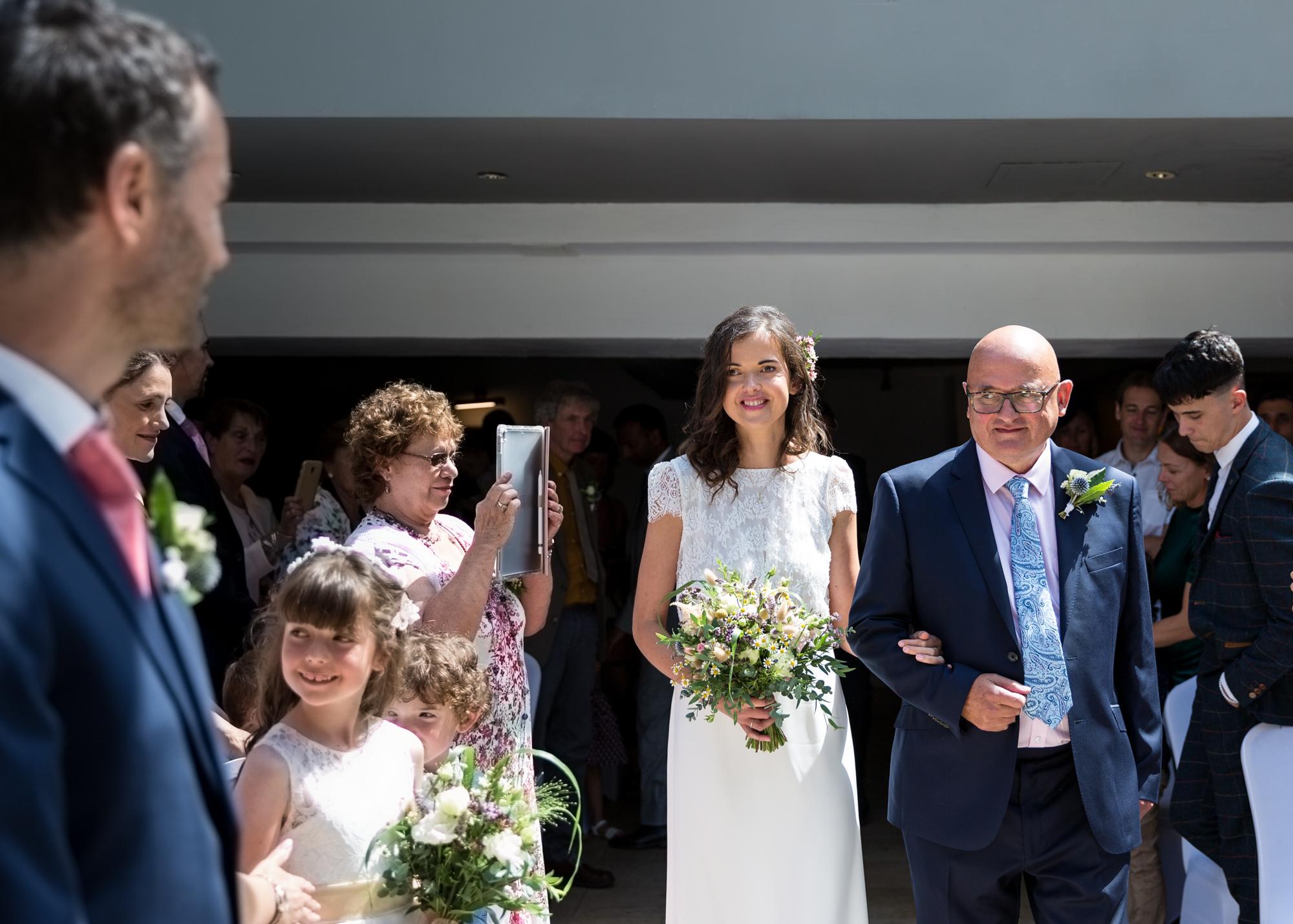 Bride and groom at Llechwen Hall wedding ceremony