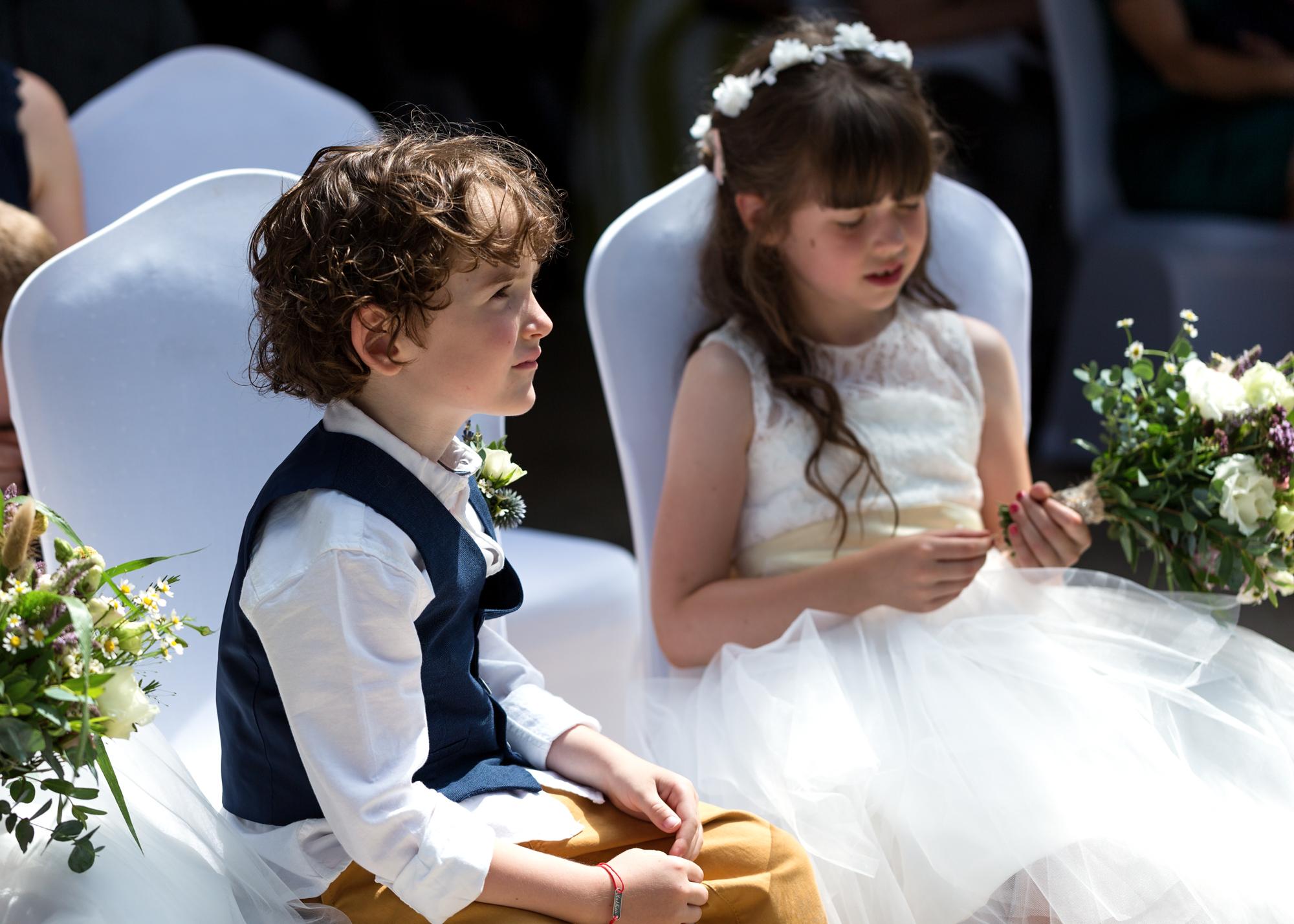 wedding ceremony at Llechwen Hall