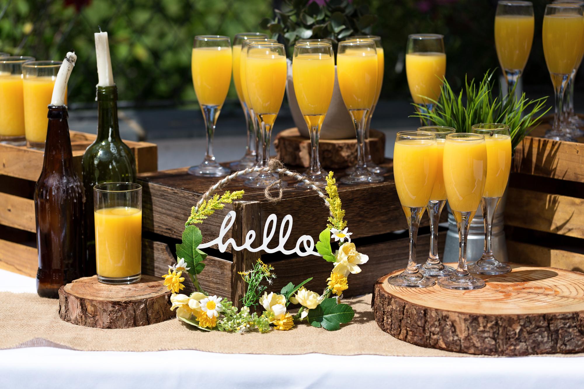 Wedding reception orange juice at Llechwen Hall