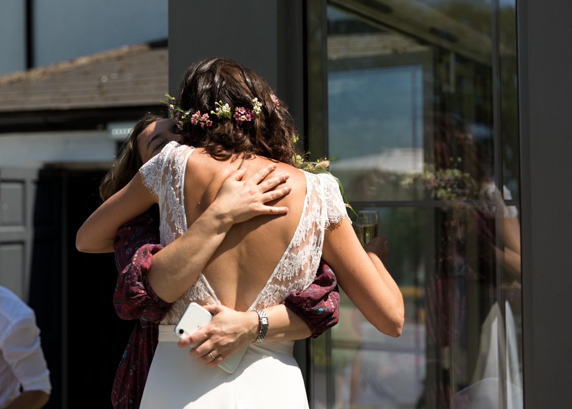 bride and guest at llechwen hall wedding
