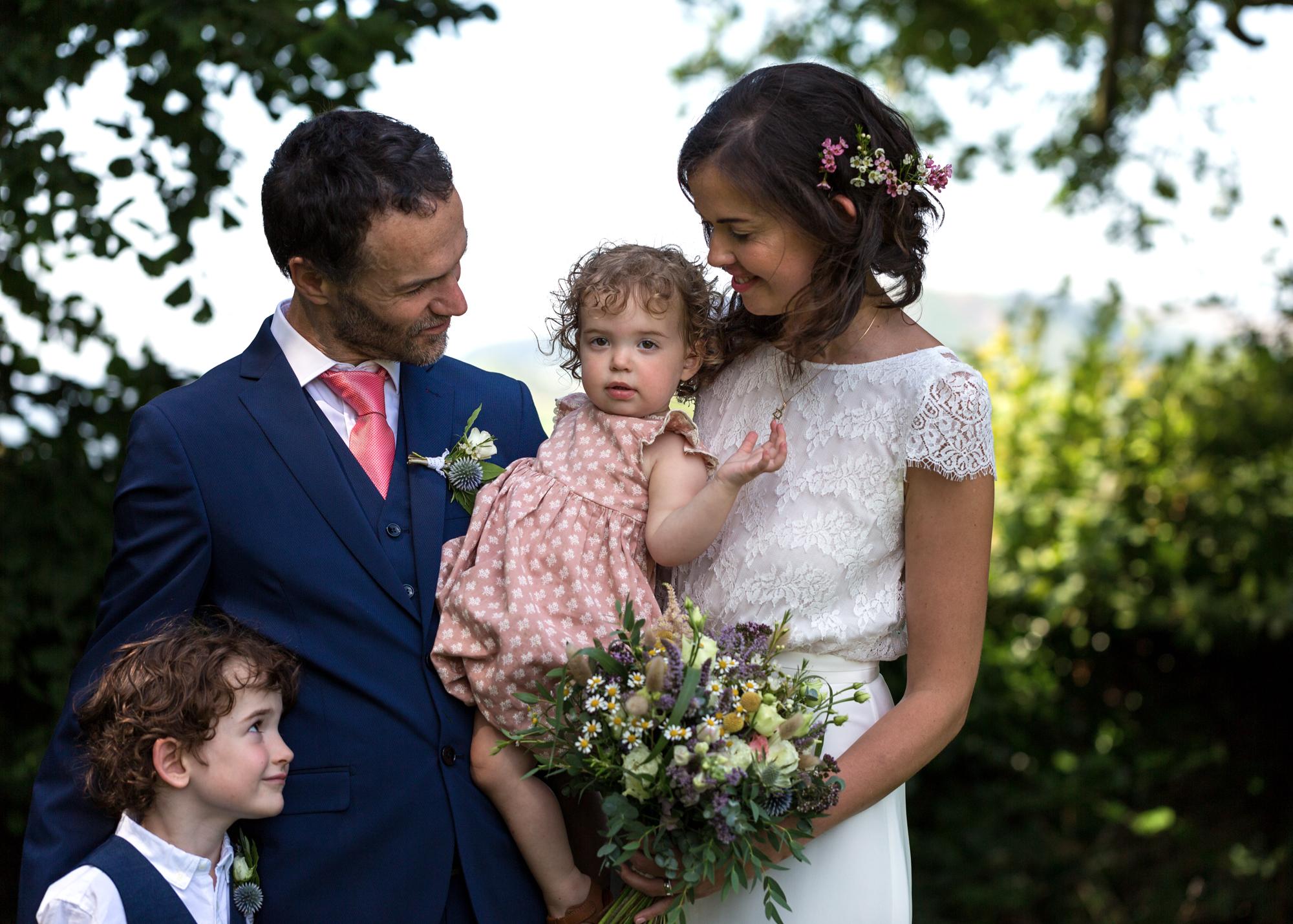 bridal family at Llechwen Hall wedding reception