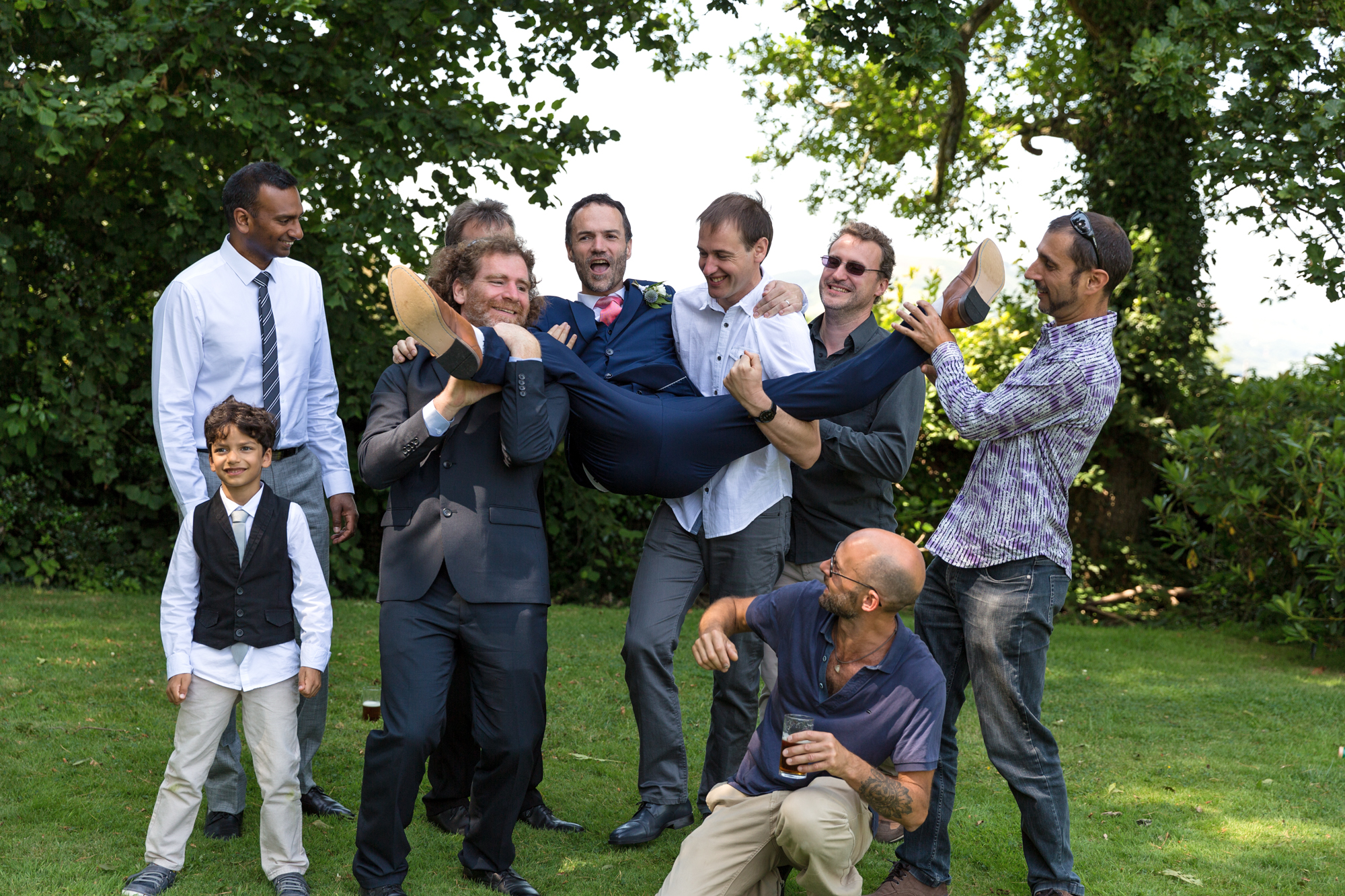 Groom and his friends at llechwen hall wedding