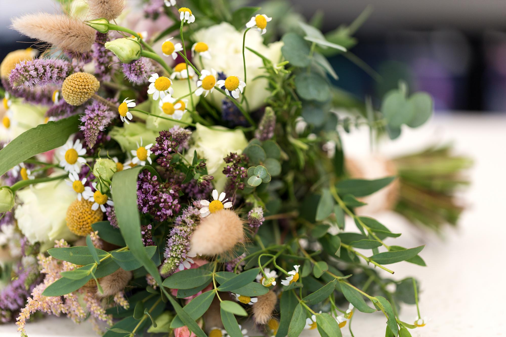 wild flower bouquet at llechwen hall wedding