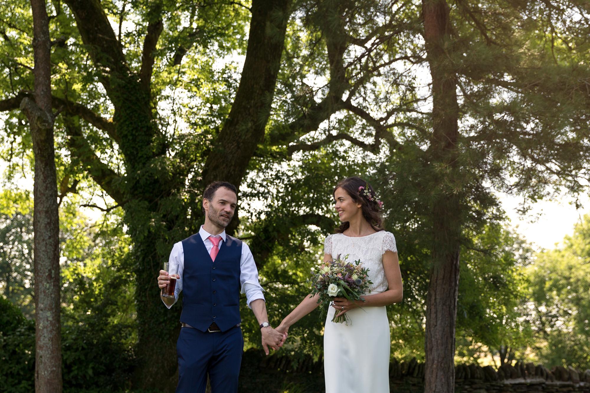 sunny bride and groom wedding photos at llechwen hall wedding