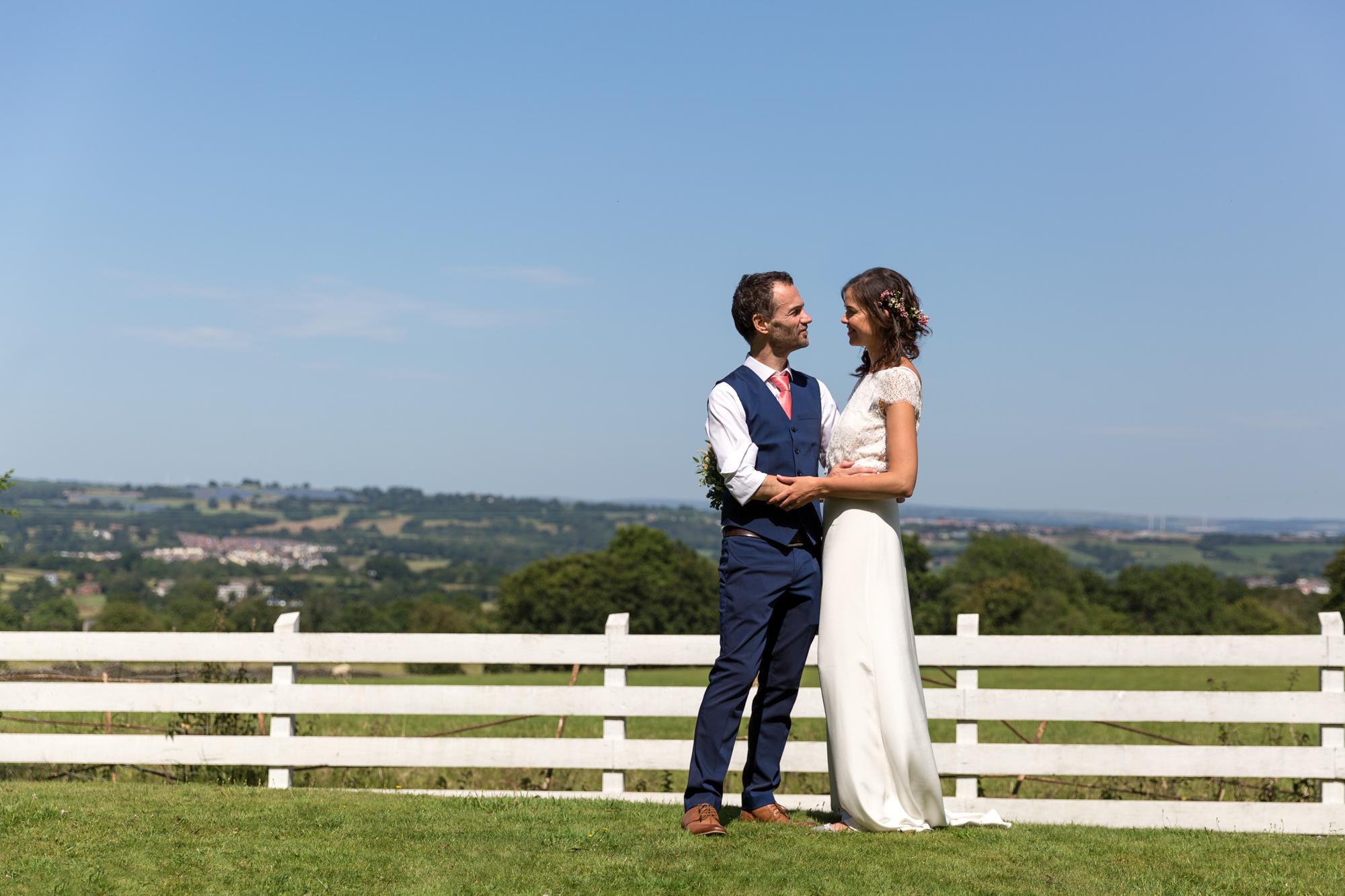 views during couple portraits at llechwen hall wedding