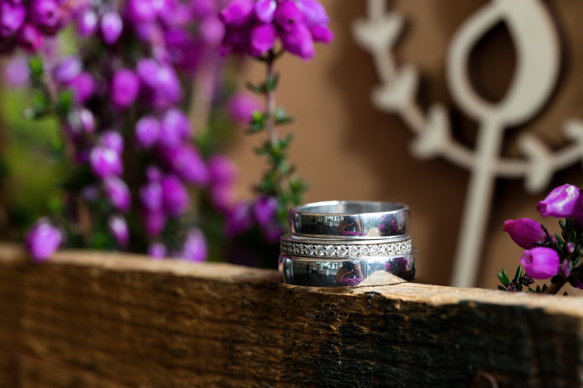 wedding rings and flowers at llechwen hall south wales