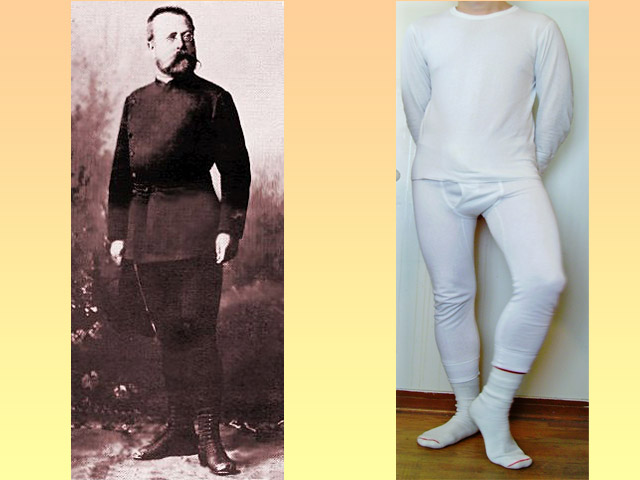 A photograph of Gustav Jaeger, and an unknown model with sassy pose in long johns.