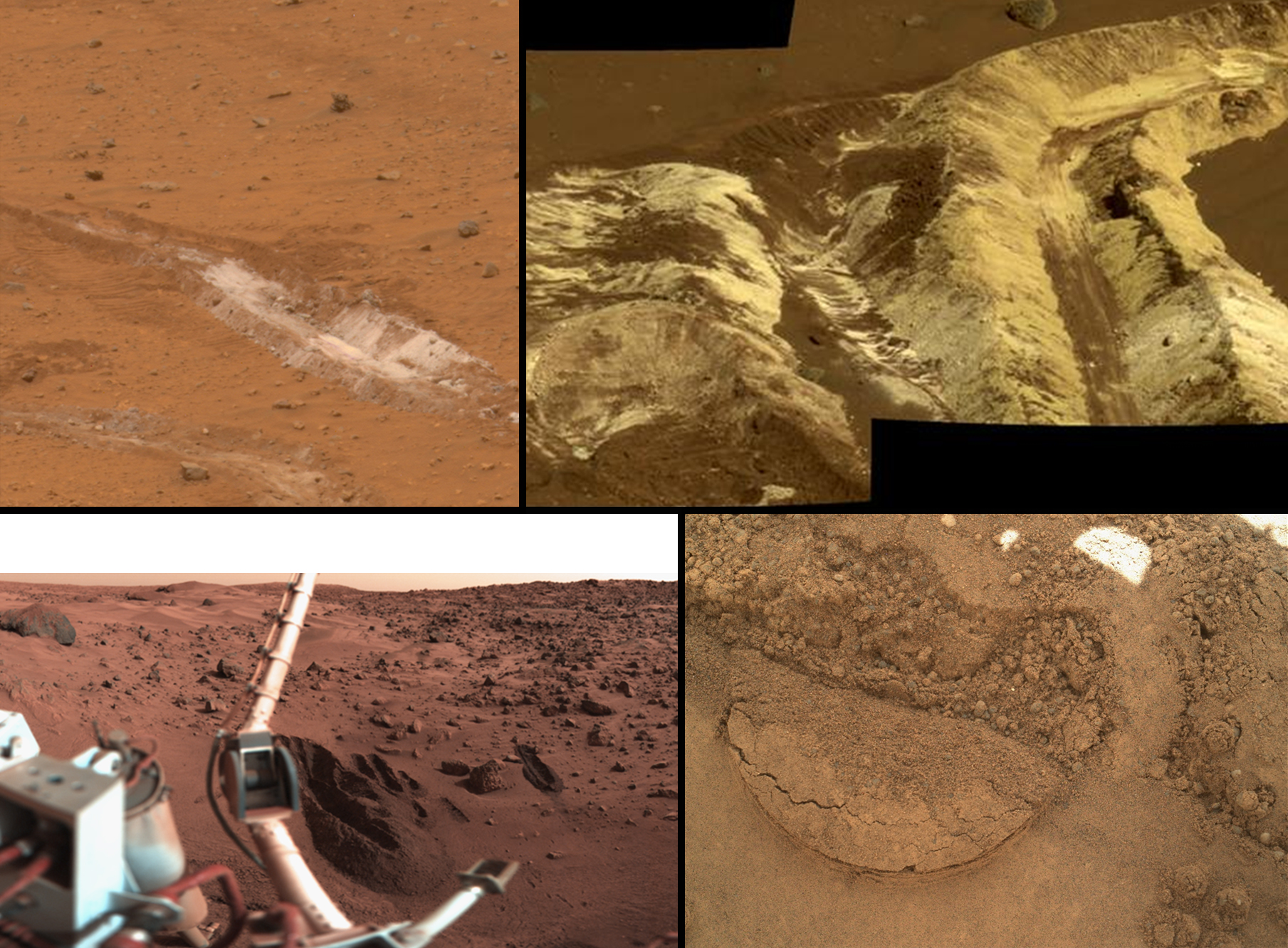 This series of photographs produced by NASA shows a variety of soil samples being taken from Mars. These investigations occurred in the landing regions of several Rover missions, from the Gusev Crater to the Curiosity's Gale Crater. NASA noted that similar samples of soil were taken from all sites.  Attribution: By NASA/JPL-Caltech [Public domain], via Wikimedia Commons