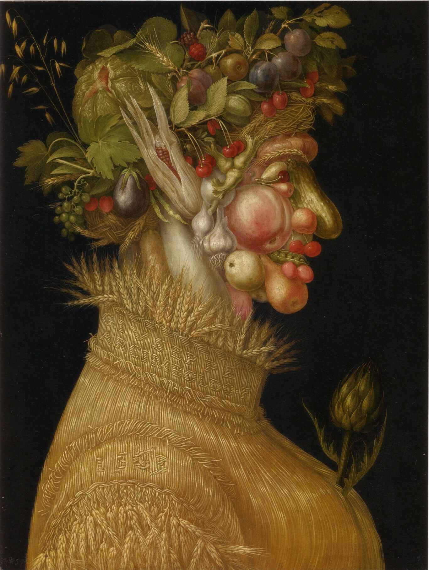 Giuseppe Arcimboldo  The Summer , 1563. Otherwise known as  Mister Gherkin Nose & Peas Teeth