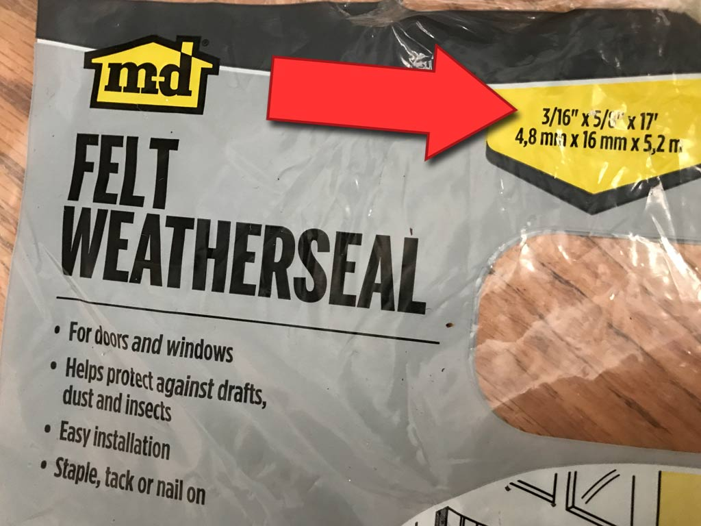 Felt Weatherseal - this package from Westlake Hardware, is cheap at under $3 for one door's worth.