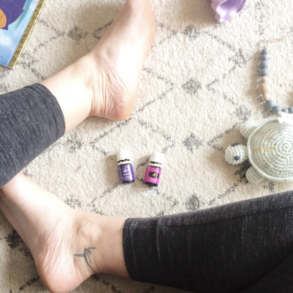 Turning to my essential oils for support during an exhausting day after no sleep the night before. For more on that, read about  essential oils  on our blog!
