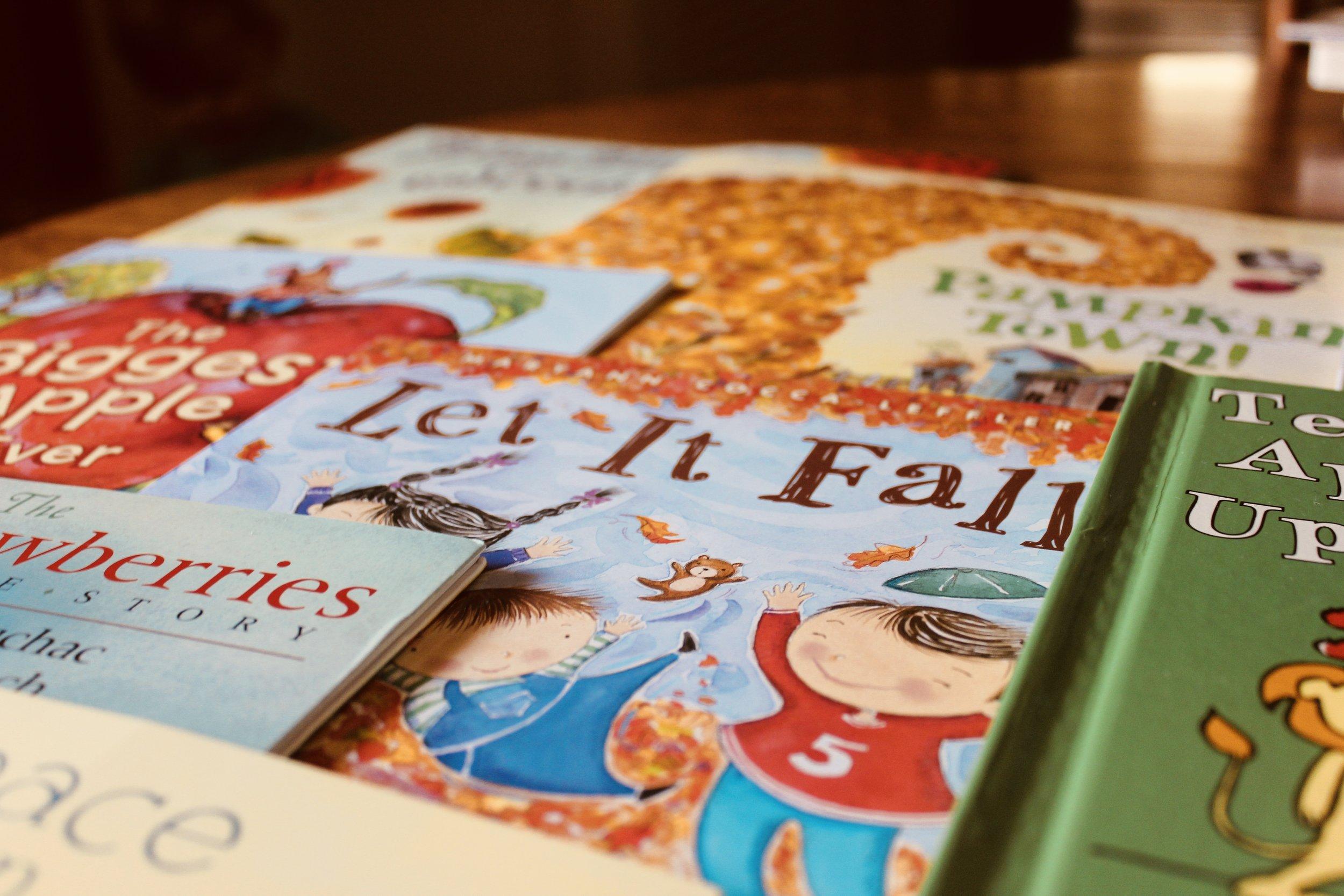 Fall Seasonal Book Bin