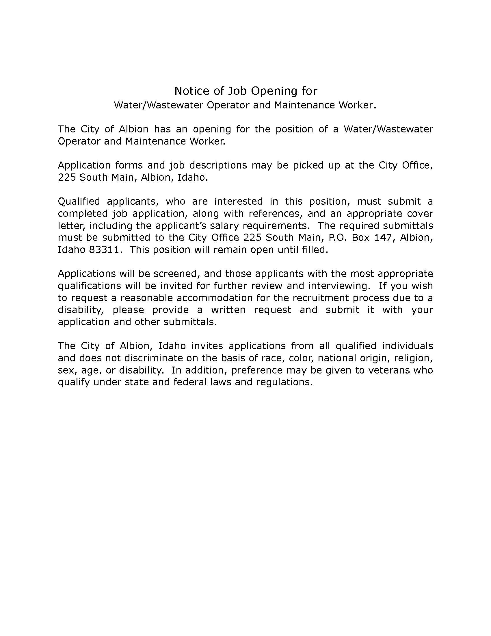 01232018 Notice of Job Opening for Waste Water Maintenance Supervisor.jpg