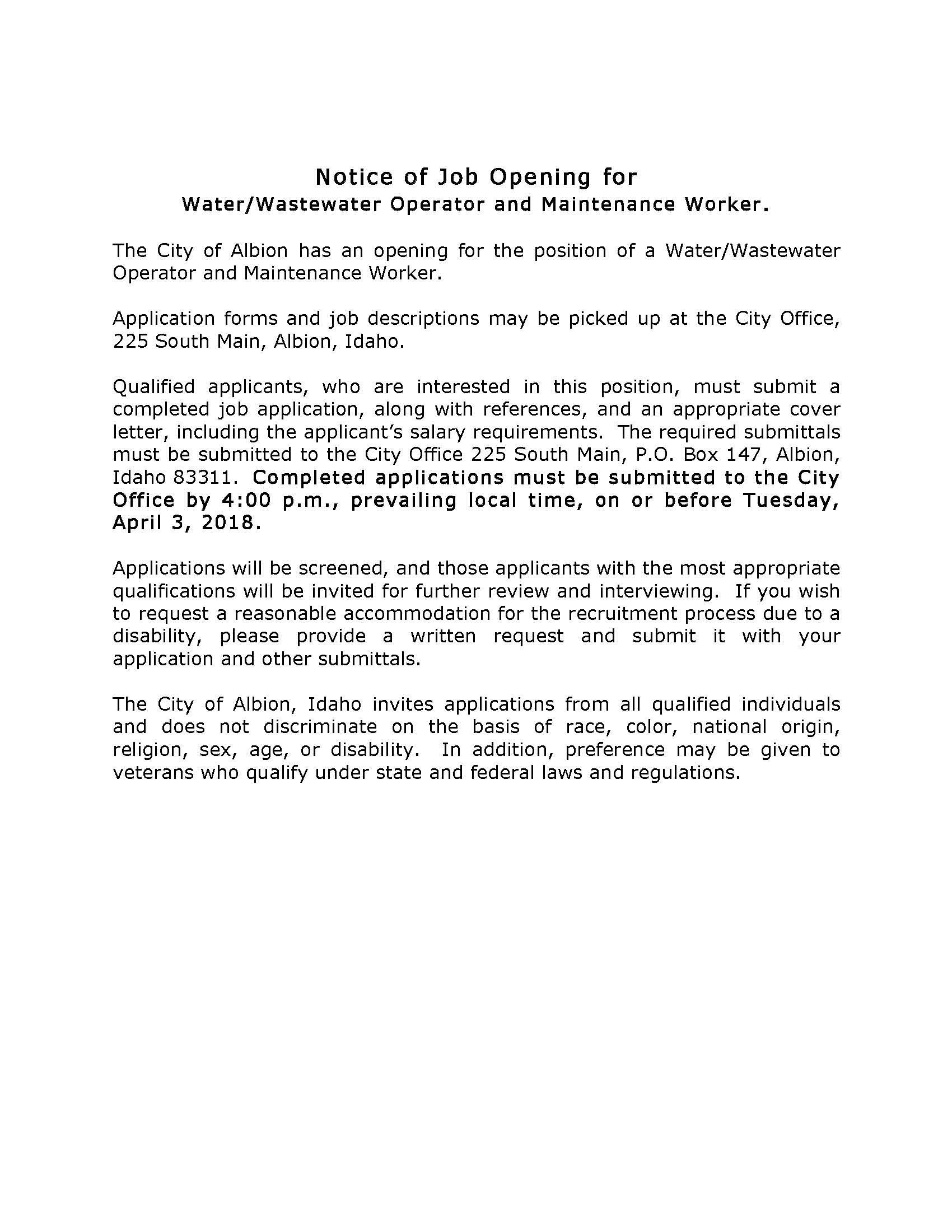 03232018 Notice of Job Opening for Waste Water Maintenance Supervisor.jpg