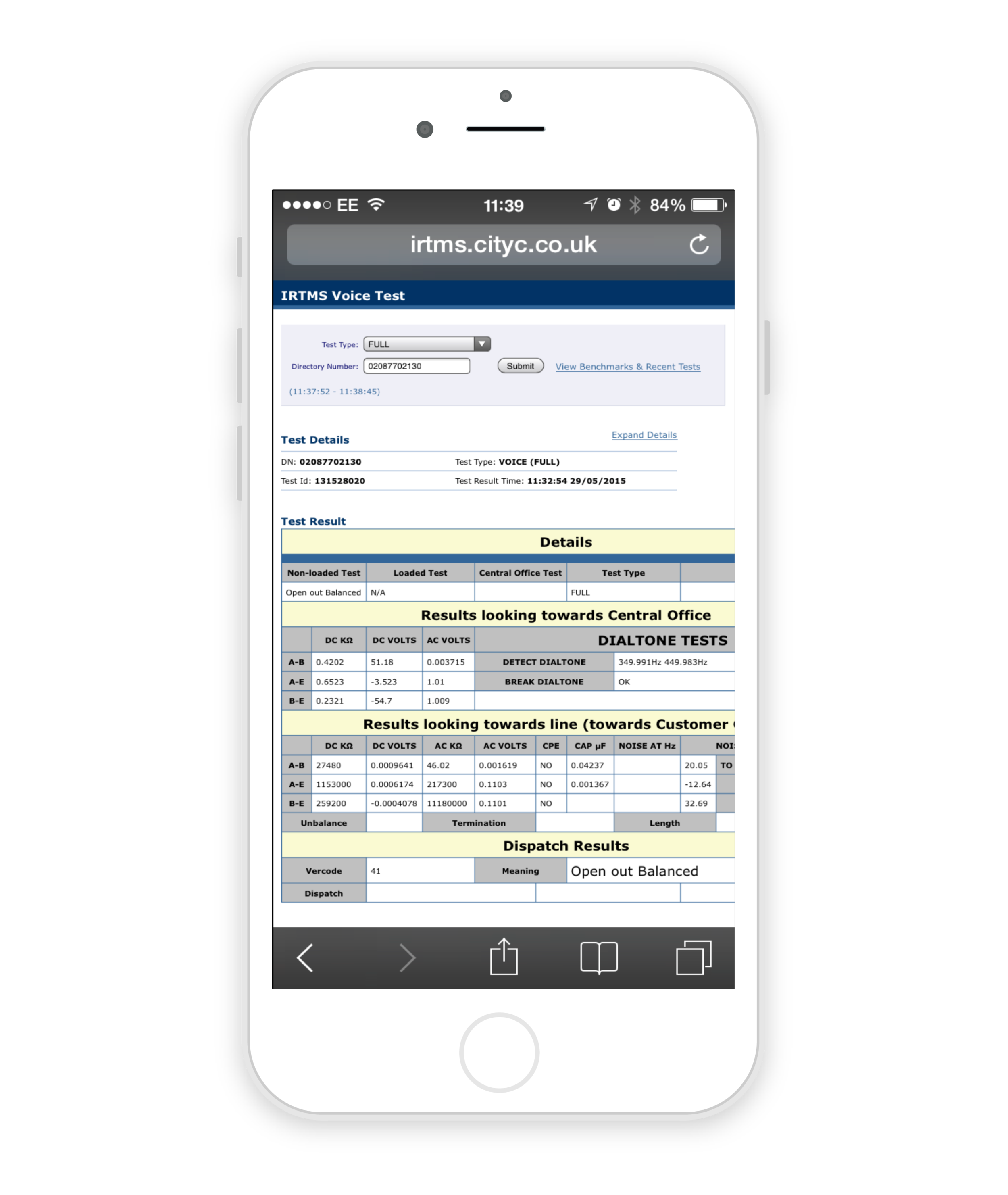 IRTMS Mobile App Control Interface. iPhone / Android For Field Engineers