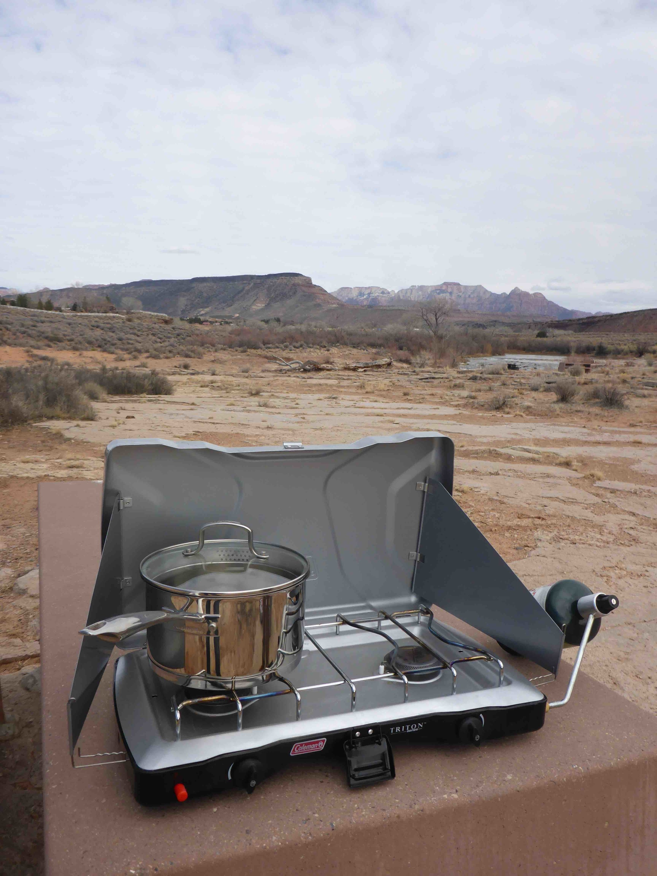 Two burner stove with propane cylinder