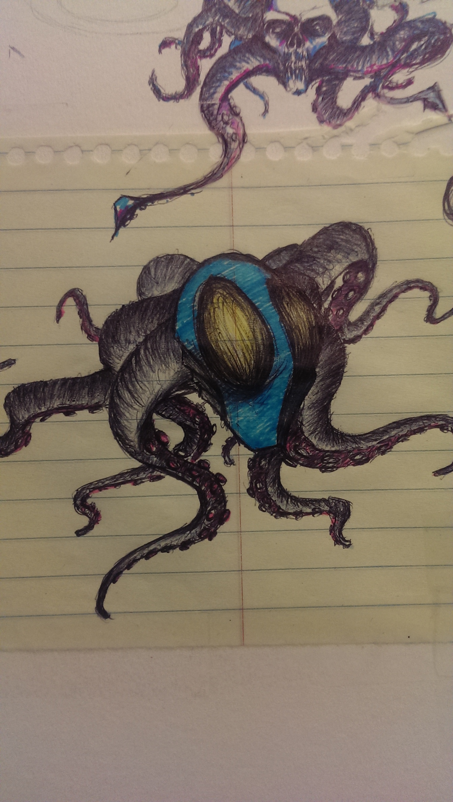 sketch in pen and colored pencil