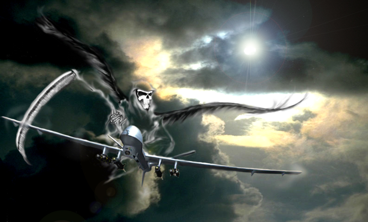 "Predator B ""Reaper"" illustration for General Atomics. Pencil drawing scanned and manipulated in Photoshop. Background 5 images that I photographed of clouds and sky."
