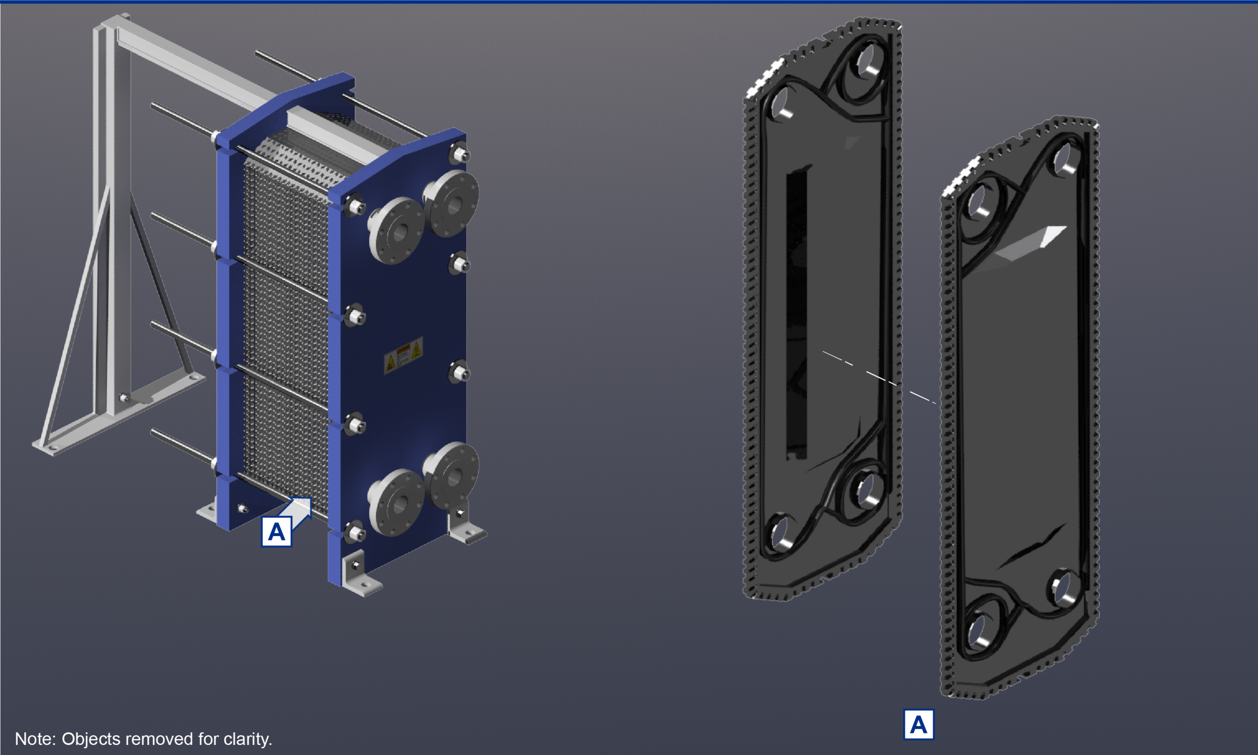 3dstudio max model of a heat exchanger with removable parts created from images off of website and brochure