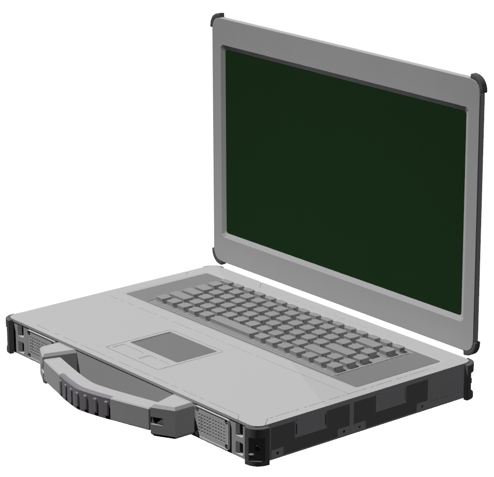3dstudio max model of a ruggedized laptop with removable parts created from multiple images