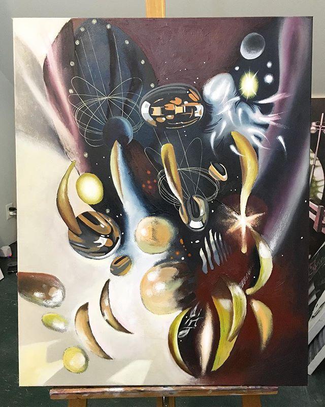 Done! #contemporaryart #artstudio #cosmicart #zerogravity #oilpainting