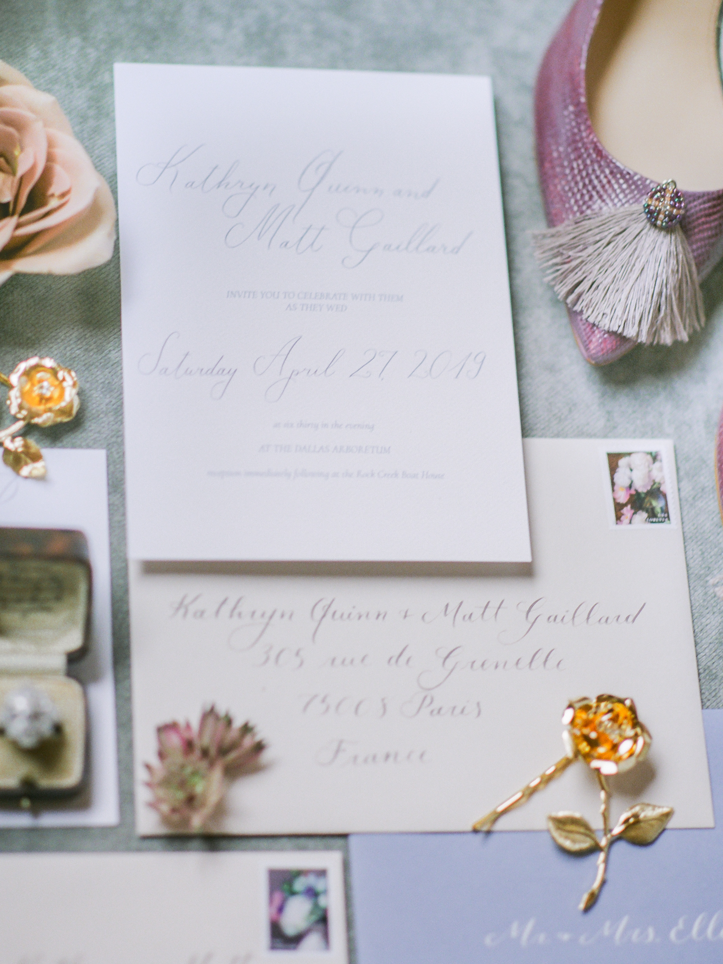 - Gorgeous details, like gorgeous shoes, a pinkish sandy rose, and gold floral bobby pins made for a stunning flat lay.