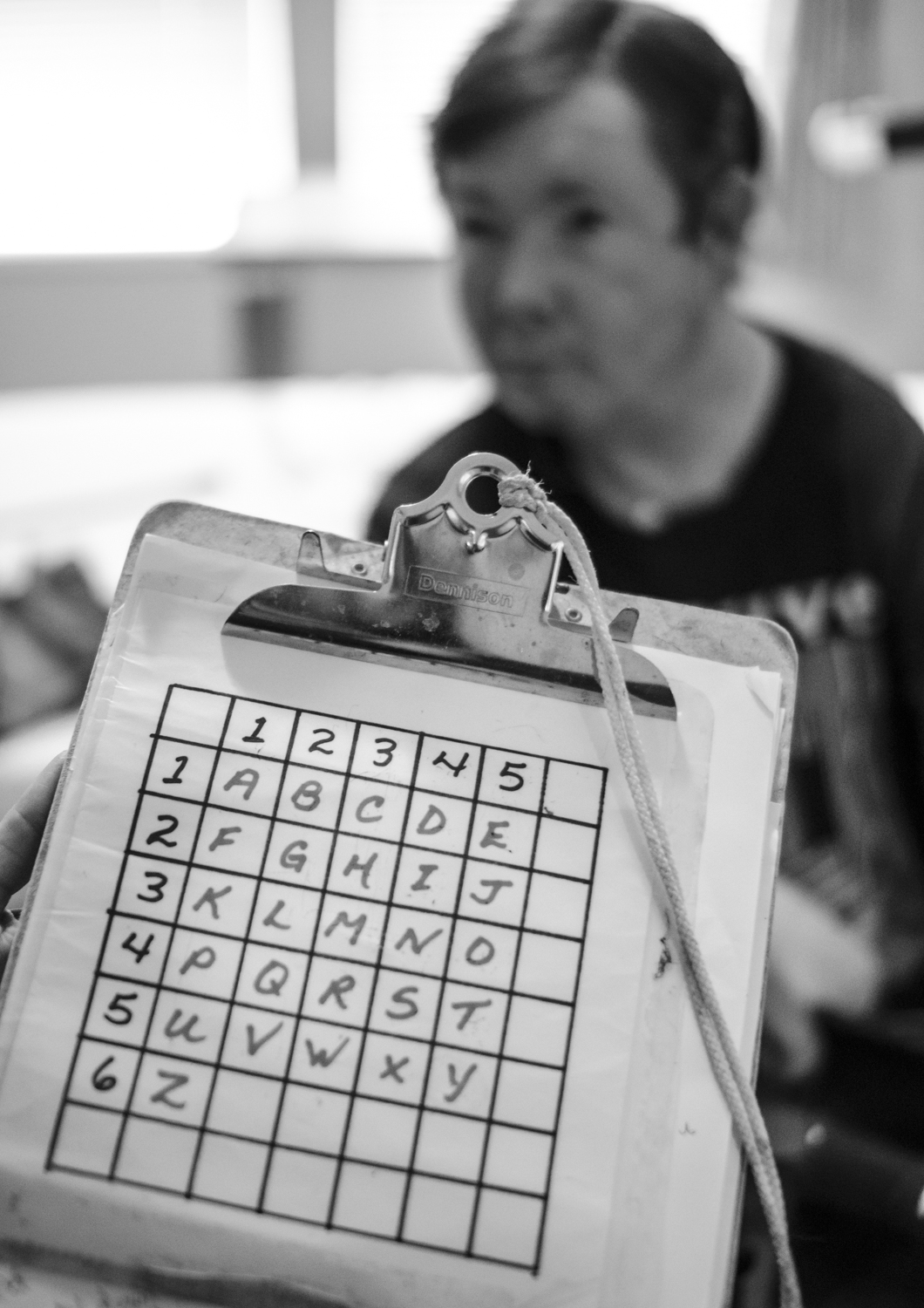 Beany and Stephanie's communication hinges on a simple system of letters and numbers laid out in grid. By blinking Beany can indicate a column and then a row slowly amassing words and sentences.