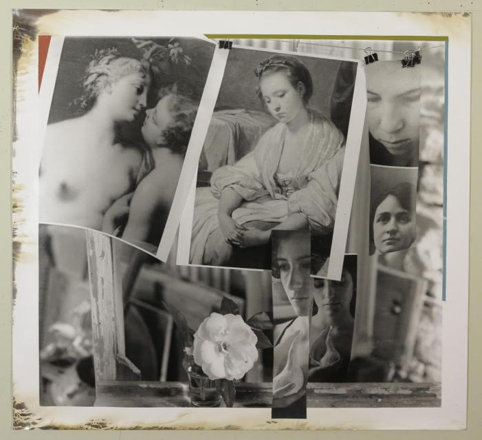 """Composition with Six Figures, 2014, oil paint on gelatin silver print, 37.25"""" x 41"""""""
