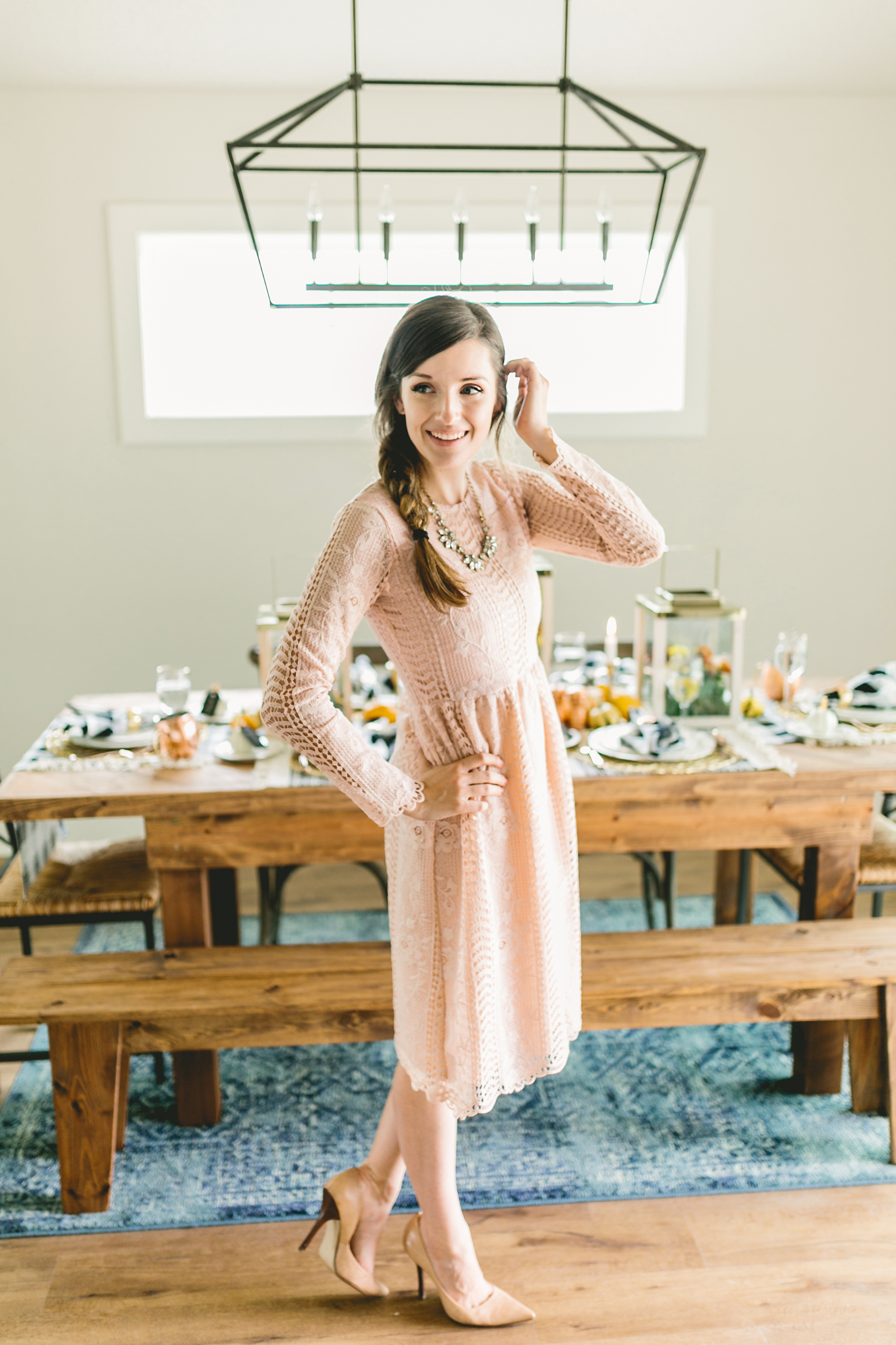 I love this sweet, blush holiday dress from Framed in Jade!