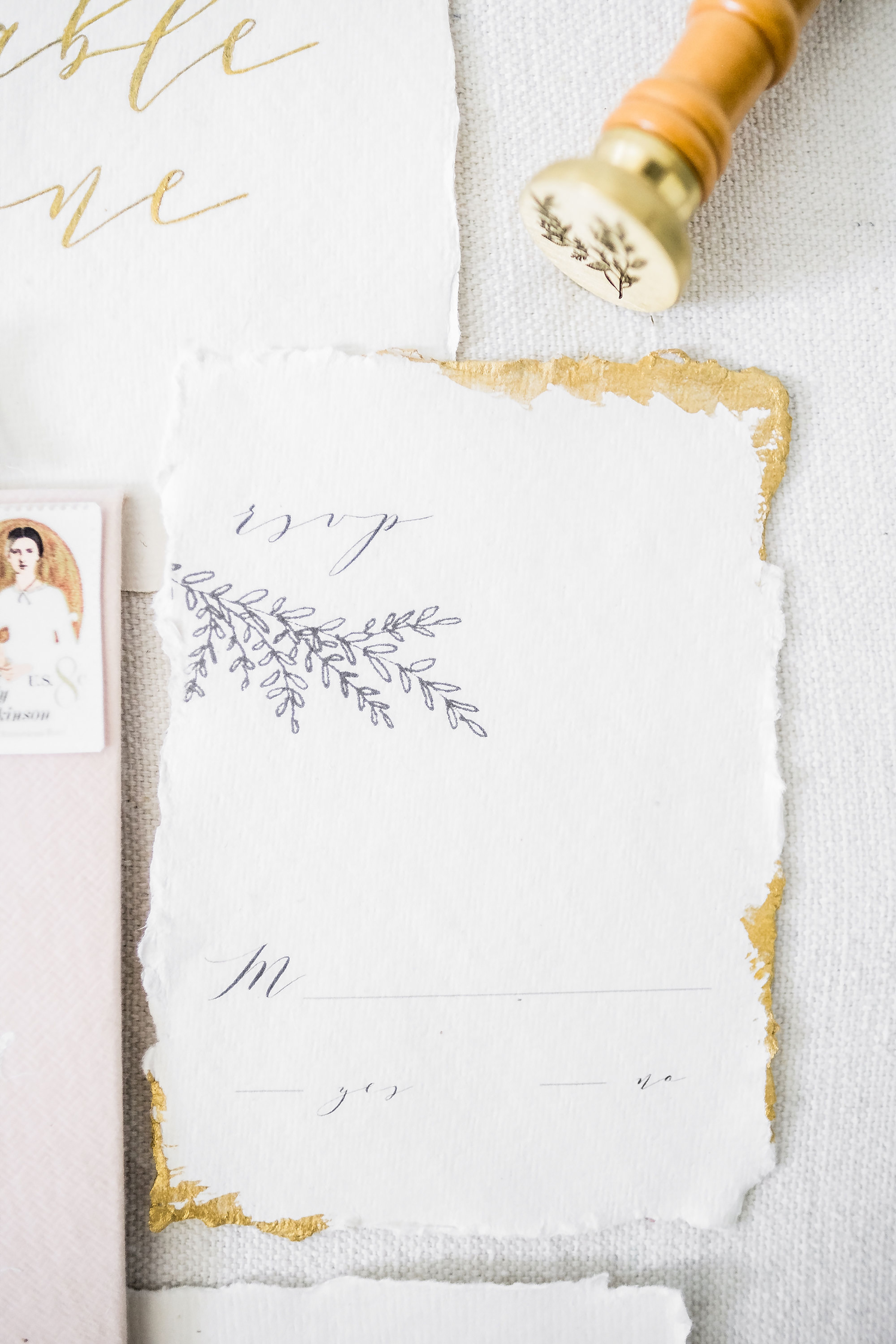 Paper by  Indian Cotton Paper Co. , wax stamp by  Artisaire , stationery design and photography by  Claire Falco Creative